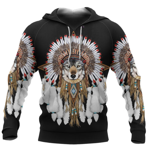 Image of 1st Iceland Grey Wolf Native American Hoodie TH12 - 1st Iceland