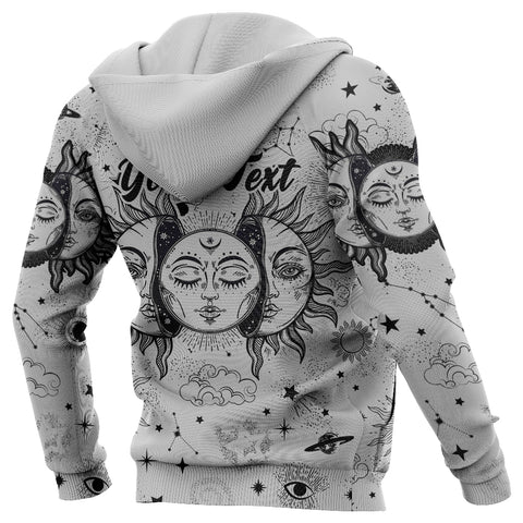 (Custom) 1stIceland Moon And Sun Hoodie Black And White | 1sticeland.com