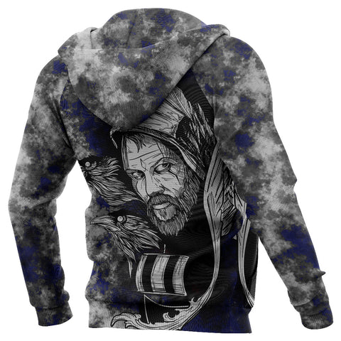 Image of (Custom) 1stIceland Viking Floki 3D Printed Unisex Zip Hoodie Art Style - Blue TH12 - 1st Iceland