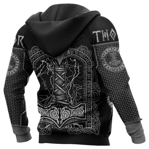 Image of 1stIceland Viking 3D Printed Unisex Zip Hoodie Thor Hammer Beautiful TH12 - 1st Iceland