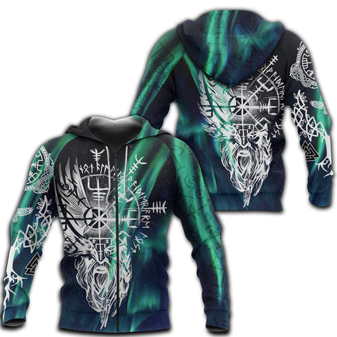 1stIceland Viking 3D Printed Unisex Zip Hoodie Odin And Northern Lights | 1sticeland.com