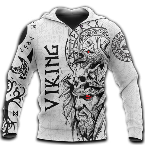 Image of 1stIceland Viking Odin And Raven White Hoodie TH12 - 1st Iceland