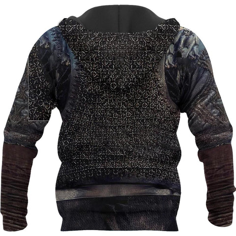 Image of 1stIceland Viking Zip Up Hoodie, Raven 3D Armour All Over Print - TH00 - 1st Iceland