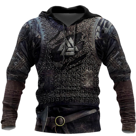 1stIceland Viking Pullover Hoodie, Valknut 3D Viking Armour Th00 - 1st Iceland