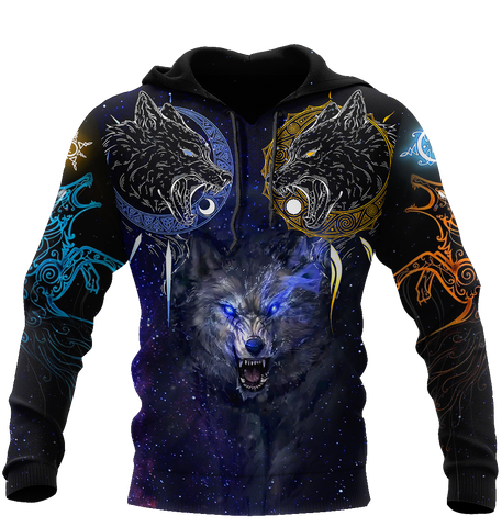 Image of 1st Iceland Viking Wolf - Skoll and Hati Hoodie TH12 - 1st Iceland