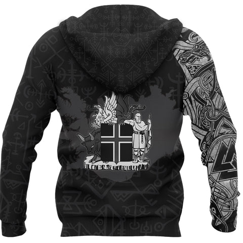 1stIceland Viking Pullover Hoodie, Icelandic Horse Valknut Viking Runes Symbol Coat Of Arms - K4 - 1st Iceland