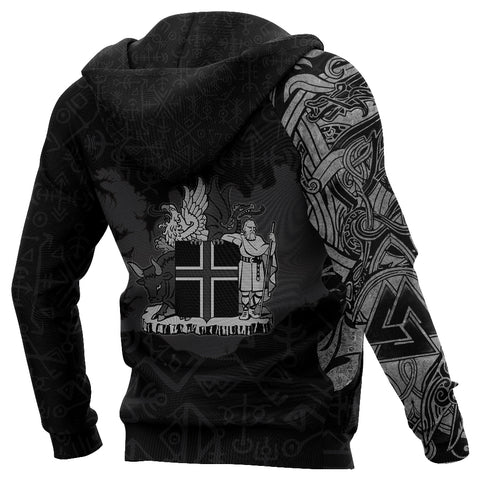Image of 1stIceland Zip Up Hoodie, Icelandic Horse Coat Of Arms K4 - 1st Iceland
