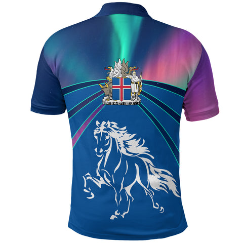 Image of 1stIceland Polo Shirt, Icelandic Horse Coat Of Arms Northern Lights K4 - 1st Iceland