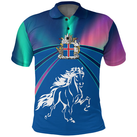 1stIceland Polo Shirt, Icelandic Horse Coat Of Arms Northern Lights K4 - 1st Iceland