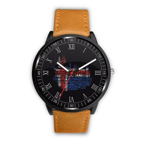 1stIceland Leather/Steel Watch, Cities Map A2 - 1st Iceland
