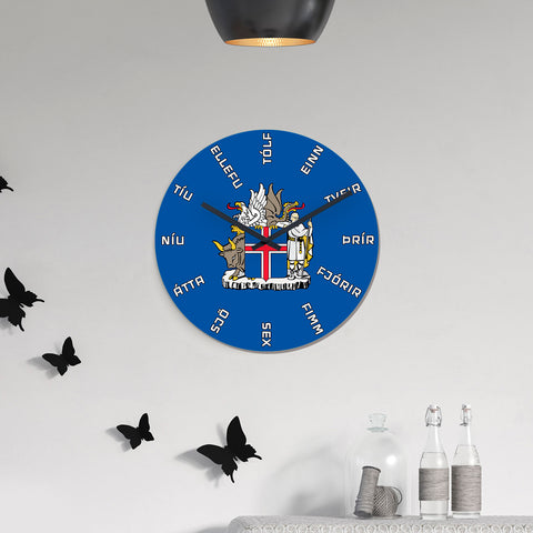 1stIceland Wall Clock, Icelandic Language Coat of Arms K4 - 1st Iceland