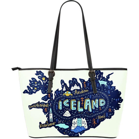 1stIceland Leather Tote Bags, Iceland Map 07 - 1st Iceland