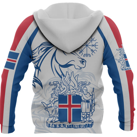 1stIceland Icelandic Horse Zip Hoodie Coat Of Arms With Helm Of Awe - White K8 - 1st Iceland