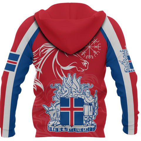 1stIceland Icelandic Horse Hoodie Coat Of Arms With Helm Of Awe - Red K8 - 1st Iceland