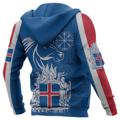 1stIceland Icelandic Horse Zip Hoodie Coat Of Arms With Helm Of Awe - Blue K8 - 1st Iceland