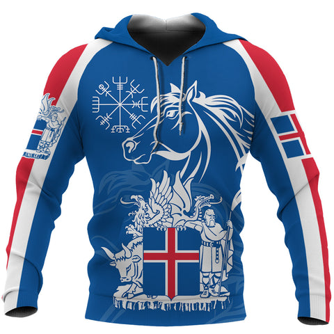 1stIceland Icelandic Horse Hoodie Coat Of Arms With Helm Of Awe - Blue K8 - 1st Iceland