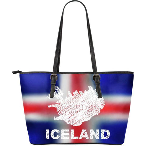 1stIceland Leather Tote Bags, IcelandFlag Map 01 - 1st Iceland