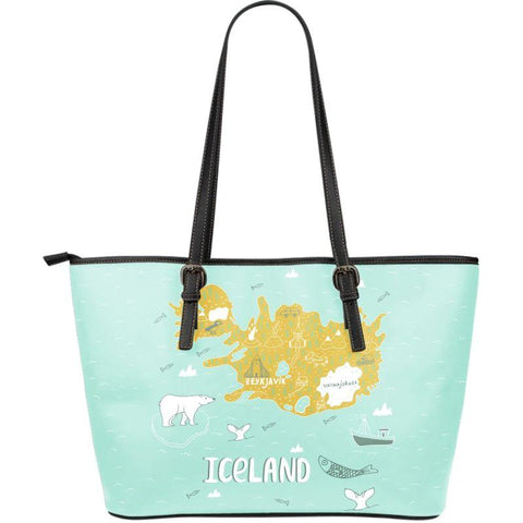 1stIceland Leather Tote Bags, Iceland Map 04 - 1st Iceland