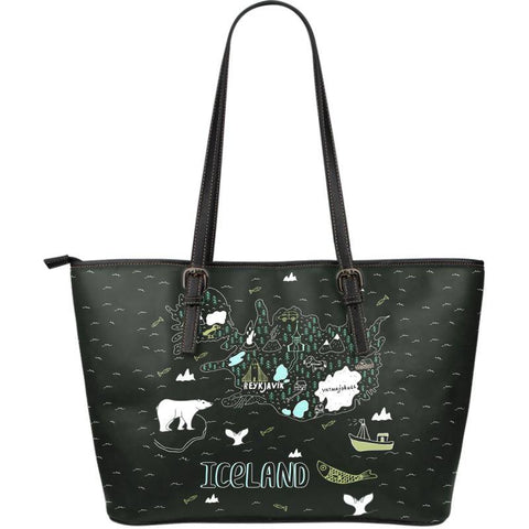 1stIceland Leather Tote Bags, Iceland Map 05 - 1st Iceland