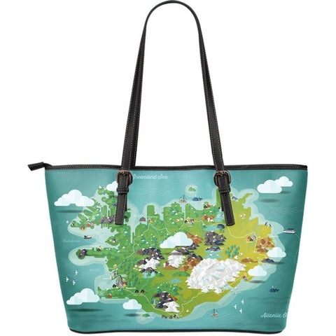 1stIceland Leather Tote Bags, Iceland Map 09 - 1st Iceland