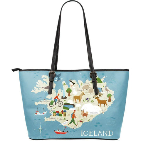 1stIceland Leather Tote Bags, Iceland Map 08 - 1st Iceland