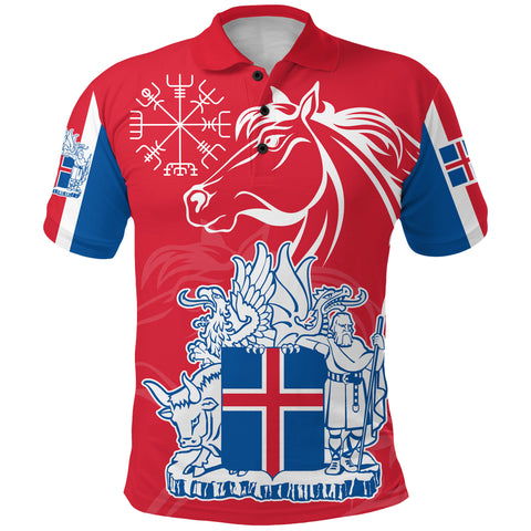 1stIceland Icelandic Horse Polo Shirt Coat Of Arms With Helm Of Awe - Red K8 - 1st Iceland