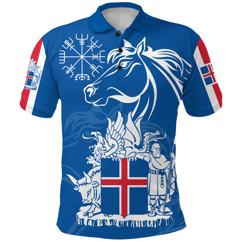 1stIceland Icelandic Horse Polo Shirt Coat Of Arms With Helm Of Awe - Blue K8 - 1st Iceland