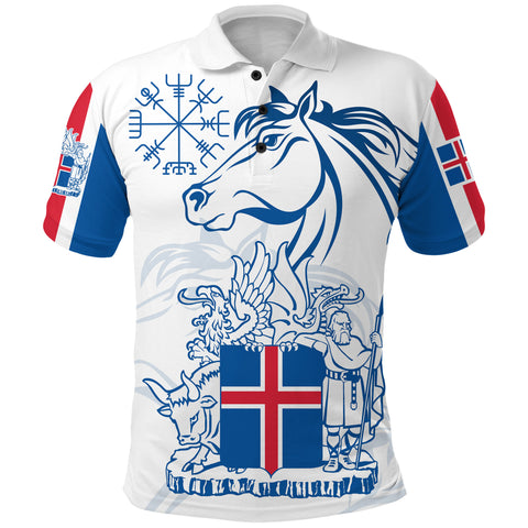 1stIceland Icelandic Horse Polo Shirt Coat Of Arms With Helm Of Awe - White K8 - 1st Iceland