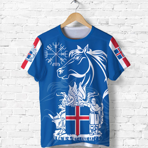 1stIceland Icelandic Horse T Shirt Coat Of Arms With Helm Of Awe - Blue K8 - 1st Iceland