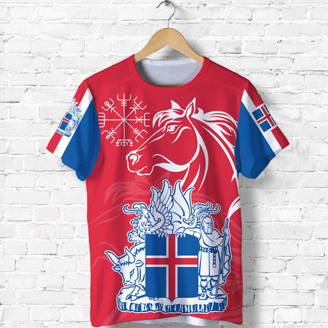 1stIceland Icelandic Horse T Shirt Coat Of Arms With Helm Of Awe - Red K8 - 1st Iceland