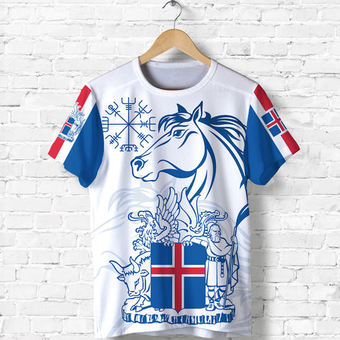 1stIceland Icelandic Horse T Shirt Coat Of Arms With Helm Of Awe - White K8 - 1st Iceland