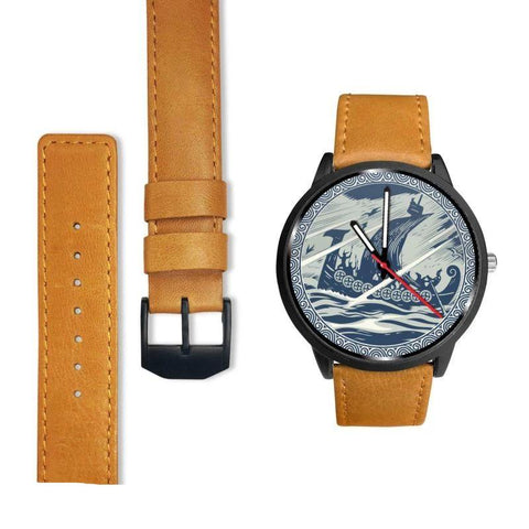 Image of 1stIceland Viking Leather/Steel Watch, Drakkar J7 - 1st Iceland