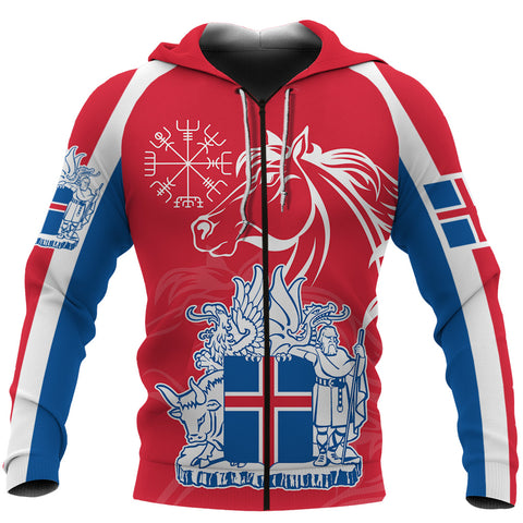 1stIceland Icelandic Horse Zip Hoodie Coat Of Arms With Helm Of Awe - Red K8 - 1st Iceland