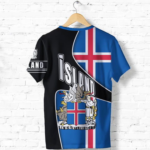 1stIceland T Shirt, Iceland Flag Coat Of Arms K5 - 1st Iceland