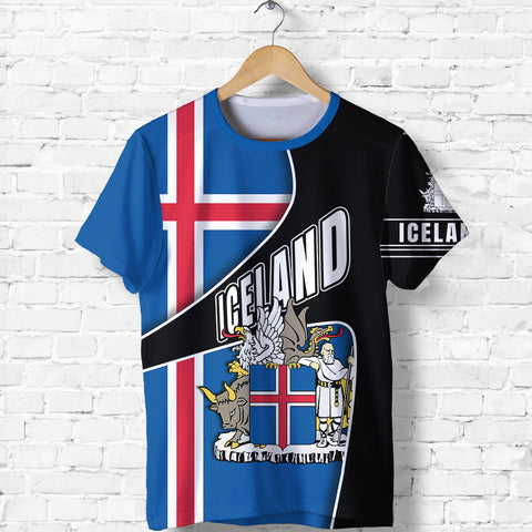 Image of 1stIceland T Shirt, Iceland Flag Coat Of Arms K5 - 1st Iceland
