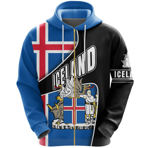 1stIceland Zip Up Hoodie, Iceland Flag Coat Of Arms K5 - 1st Iceland