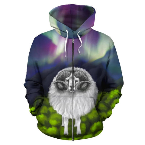 1stIceland Zip Up Hoodie, Icelandic Sheep Northern Lights K4 - 1st Iceland