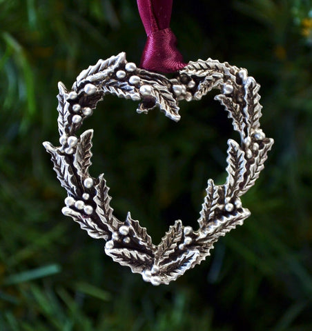 1stIceland Christmas Ornament, Holly Wreath Heart - 1st Iceland