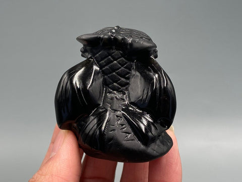 Natural Hand Carved Obsidian Night Fury Toothless TH7 - 1st Iceland