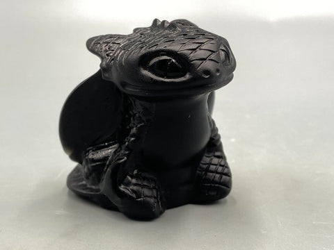 Image of Natural Hand Carved Obsidian Night Fury Toothless TH7