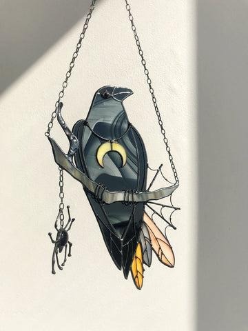 Mystical Crow Witch Decor Suncatcher TH10 - 1st Iceland