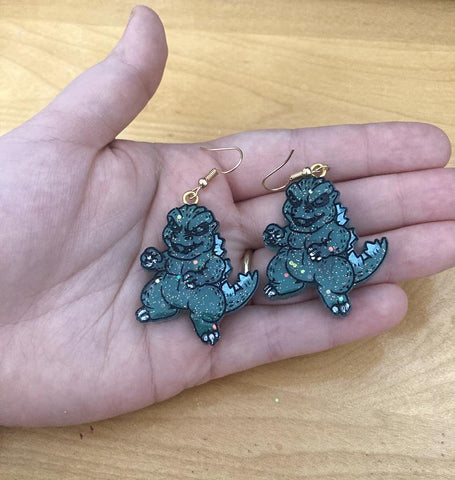 Baby Godzilla Earrings TH19