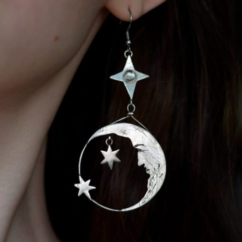 Wiccan Crescent Moon Earrings K7 - 1st Iceland