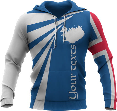 Image of 1stIceland Custom Personalized Hoodie, Iceland Flag Map Coat Of Arms TH50 - 1st Iceland