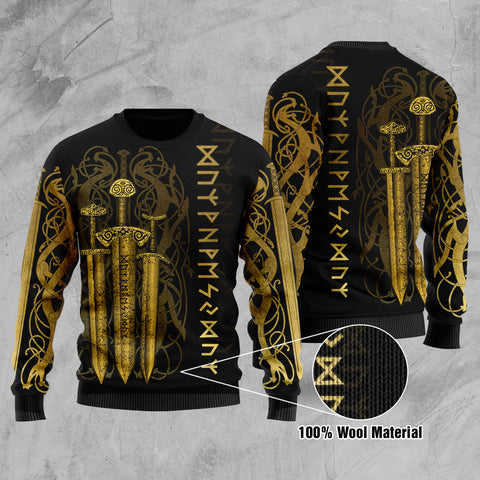 1stIceland Viking Sword 100% Wool Material Sweater Gold