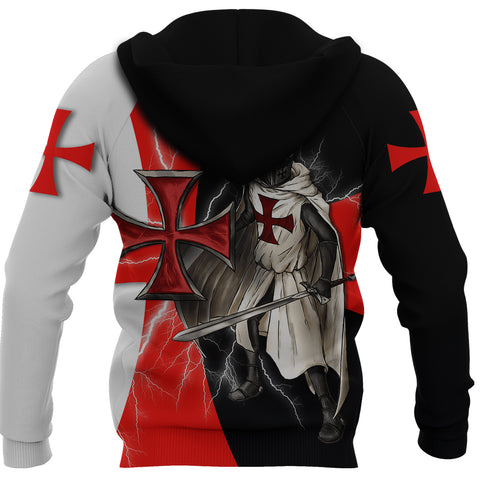 1stIceland Knights Templar Zip Hoodie Red Cross Lightning Storm K4 - 1st Iceland