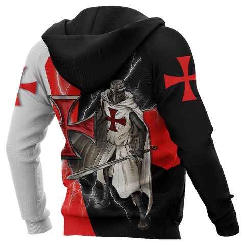 1stIceland Knights Templar Zip Hoodie Red Cross Lightning Storm K4
