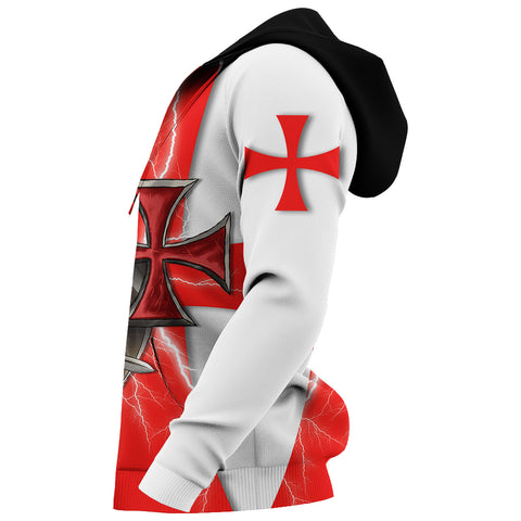1stIceland Knights Templar Hoodie Red Cross Lightning Storm K4