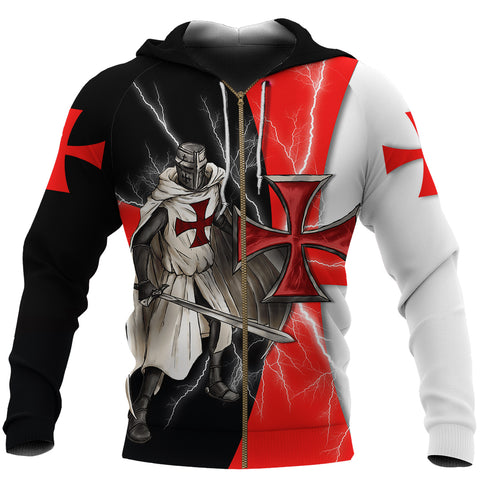 Image of 1stIceland Knights Templar Zip Hoodie Red Cross Lightning Storm K4 - 1st Iceland