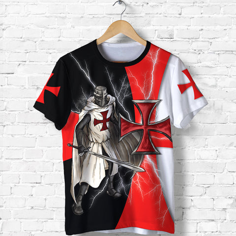 1stIceland Knights Templar T Shirt Red Cross Lightning Storm K4